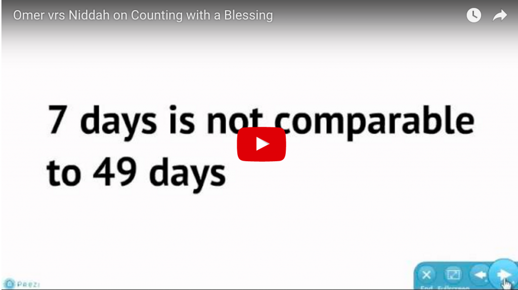Omer vrs Niddah on Counting with a Blessing